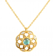 18k Yellow gold Moonstone _ Diamond Floret Pendant