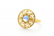 18k Yellow gold Moonstone _ Diamond Lotus Ring