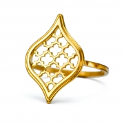 18k Yellow gold Small Jali Drop Ring
