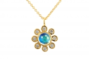 18k Yellow gold Small Moonstone _ Diamond Pendant