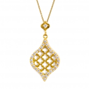 18k Yellow gold _ Diamond Jali Drop Pendant