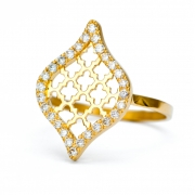 18k Yellow gold _ Diamond Jali Drop Ring