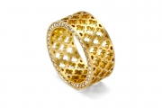 18k Yellow gold _ Diamond Jali Ring