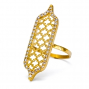18k Yellow gold _ Diamond Jali Tablet Ring
