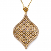 18k Yellow gold _ Diamond Large Delux Jali Drop Pendant