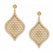 18k Yellow gold _ Diamond Large Jali Drop Earrings