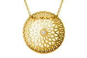 18k Yellow gold and Diamond Mandala Pendant