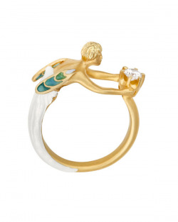 Masriera 18kt. Yellow gold Enamel & Diamond Fairy ring