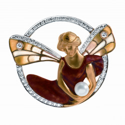 Masriera 18kt. Yellow gold, Diamond, Pearl and Cloisonne Enamel Fairy brooch
