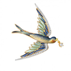 Masriera 18kt. Yellow gold Cloisonne Enamel and Diamond Swallow brooch