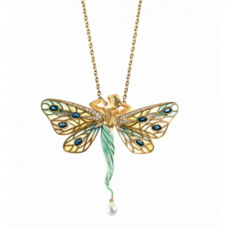 Masriera 18kt. Yellow gold, Cloisonne Enamel, Sapphire and Pearl Fairy necklace