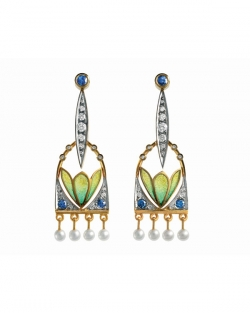 Masriera 18kt. Yellow & White gold Diamond, Sapphire, Pearl and Cloisonne Enamel earrings