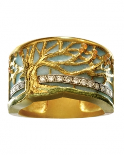 Masriera 18kt. Yellow gold Cloisonne Enamel and Diamond Tree ring