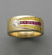 18karat Yellow gold Astroid ring with Platinum, 24k inlay, Diamond and Rubies copy