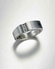 14k White gold square top band with offset channel of small Round Brilliant cut Diamonds