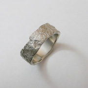14k White gold ring molded off of Tree Bark