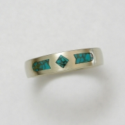 14k White gold band inlayed with Turquoise