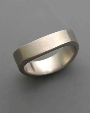 14k White gold flat square shaped curved band with satin finish