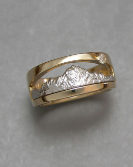 Mountain Bands 1-2: Platinum and 18kt. yellow gold two-tone Mt. Sneffels Ring with small diamond