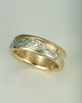 Mountain Bands 1-8: 14kt. two tone standard Boulder Peaks Range Ring