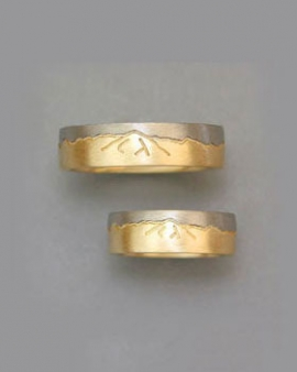 Mountain Bands 1-4: 14kt. two-tone Skyline Rings with detail