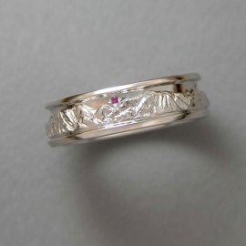 Mountain Bands 1-10: 14-karat white gold Boulder Peaks Range Ring with small ruby in the sky