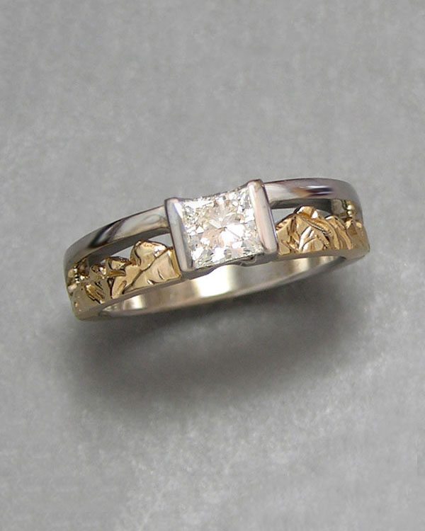 Mountain Engagement Rings 1-2: 14kt. two-tone Twin Peaks Mountain Ring with a princess cut diamond