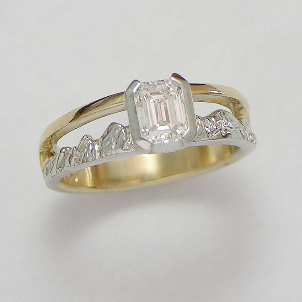 Mountain Engagement Rings 1-11: 14kt. yellow and white gold two-tone Boulder Peaks mountain ring with emerald cut center diamond