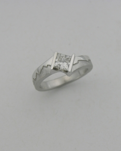 14k White gold Princess cut Diamond Skyline ring featuring Mont Blanc