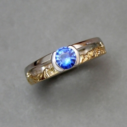 Mountain Engagement Rings 1-5: 14kt. two tone sapphire mountain ring
