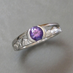 Mountain Engagement Rings 1-6: 14kt. white gold purple sapphire mountain ring