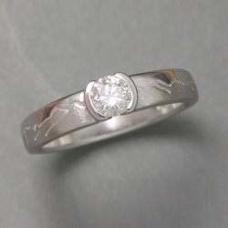 Mountain Engagement Rings 1-7: 14kt. white gold Skyline engagement ring with partially bezel set diamond