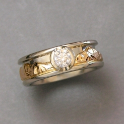 Mountain Engagement Rings 1-8: 14kt. two-tone reverse Range Ring with diamond in partial bezel