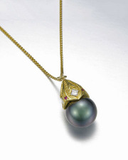 Necklace 1-3: Black pearl with a gold cap set with diamonds and rubies
