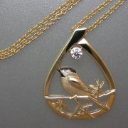 Necklace 2-12: Black Capped Chickadee with diamond in yellow gold