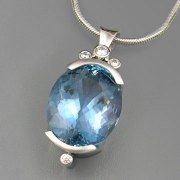 Necklace 3-6: Custom 14karat white gold aquamarine and diamond pendant