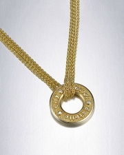 Necklace 1-12: Mother's pendant with children's names and birthstones in yellow gold