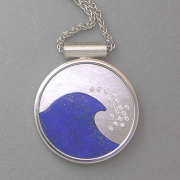 Necklace 1-2: Lapis wave inlay in white gold with scattered diamonds