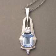 Necklace 1-4: Rectangular cut aquamarine with diamonds in white gold