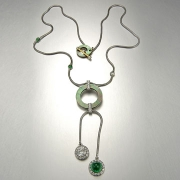 Necklace 2-1: Black lipped mother of pearl, diamonds, emeralds and platinum