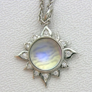 Necklace 2-7: Moonstone sun pendant with bead set diamonds
