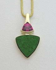 Necklace 3-2: 14karat yellow gold Diopside and Rubelite pendant