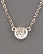 Necklace 3-5: Platinum full bezel diamond pendant