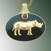 Necklace 3-7: 18karat yellow gold black jade, pave diamond and ruby Rhinoceros pendant
