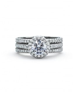 Precision Set #5 Halo diamond Engagement ring with matching diamond wedding bands on each side