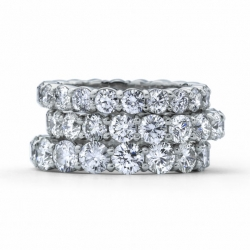 Round Brilliant cut Diamond shared prong Wedding or Anniversary Bands