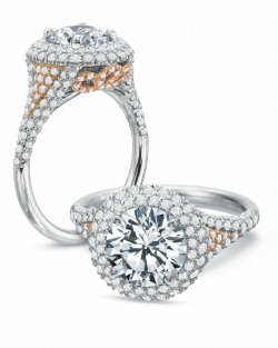 Platinum and Rose Gold Round Halo Pave Engagement ring