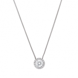 14k White gold Round Brilliant cut Diamond halo pendant on chain