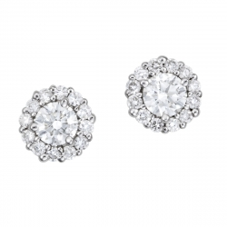14k White gold Round Brilliant cut Diamond halo stud earrings