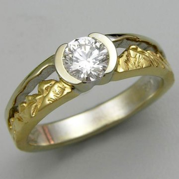 Twin Peaks diamond engagement ring in 14kt. Yellow and White Gold